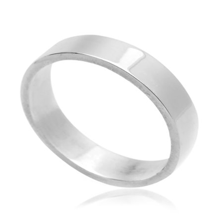 Men Women 5MM Sterling Silver Wedding Band Classic Plain Flat Band Ring (5 to - 5mm Flat Band Ring