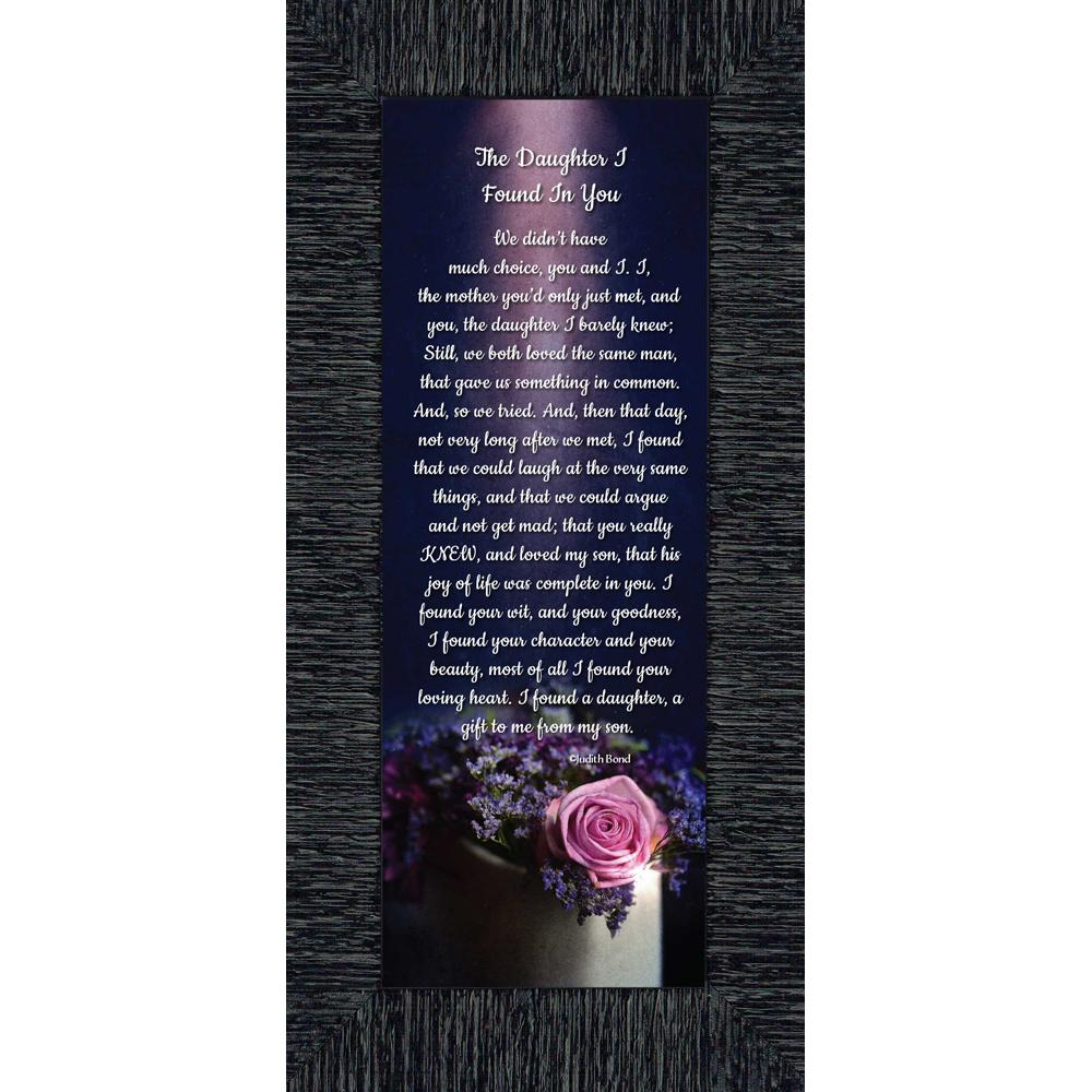 The Daughter I Found In You Law Gifts Poem For Future 6x12 7308