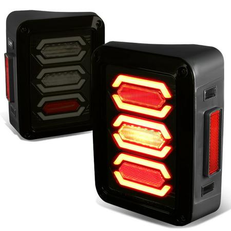 Brake Bar - For 07-17 Jeep Wrangler JK Pair of LED Bar Black Housing Smoked Lens Brake Tail Lights 10 11 12 13 14 15 16