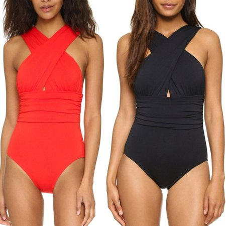 Women Cross Bandage Backless Solid Triangle One-piece Swimsuit Solid Cross Back 1 Piece