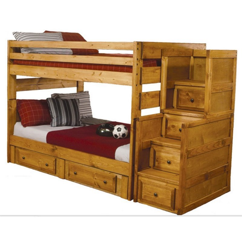 Bowery Hill Full Over Full Wood Bunk Bed in Amber Wash by Bowery Hill