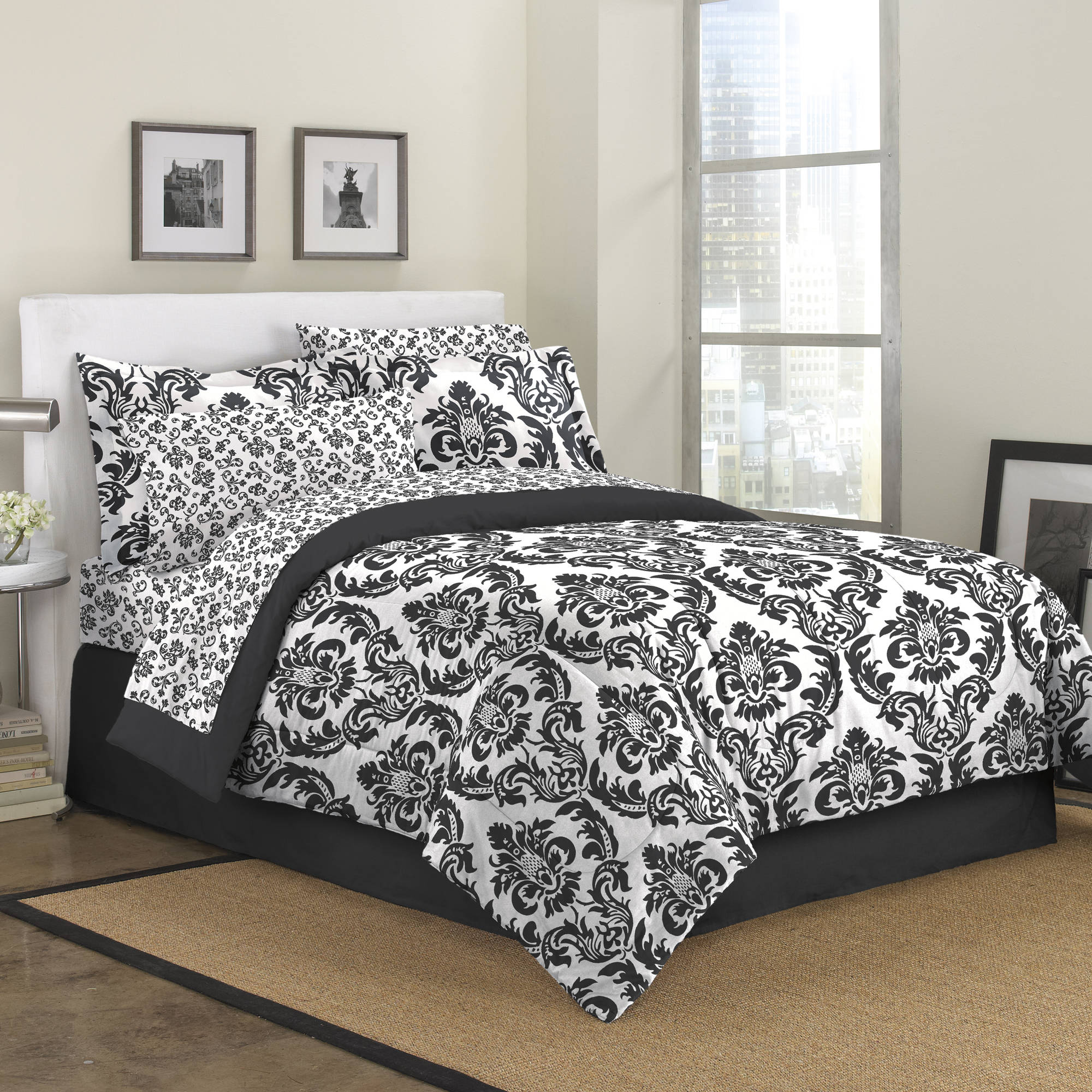 First At Home Marcheline Damask Bed in a Bag Bedding Set, Black