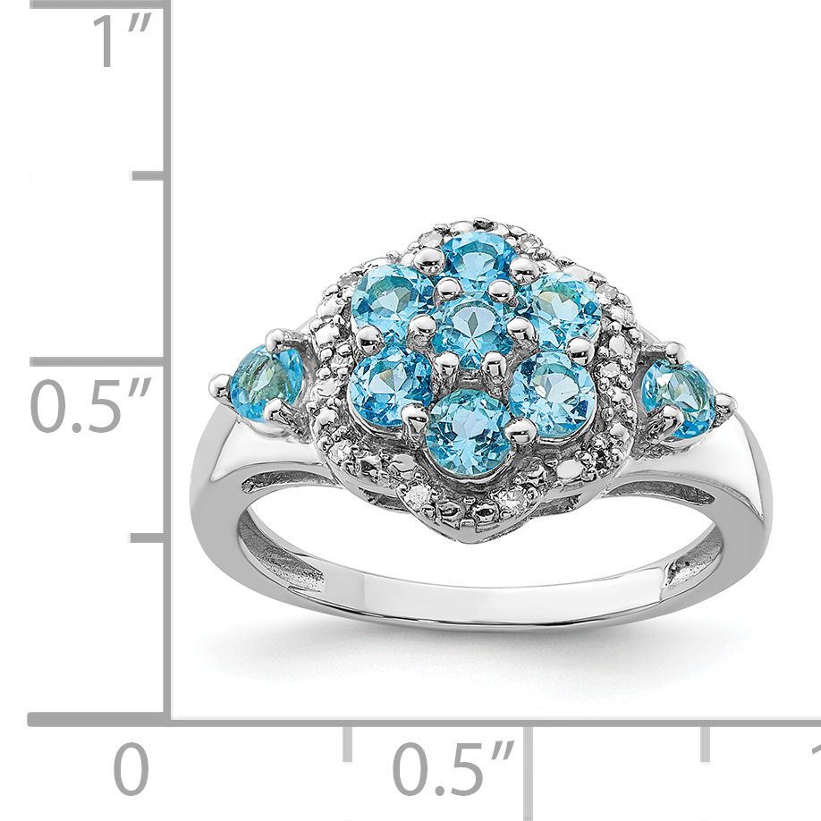 925 Sterling Silver Rhodium Diamond and Light Swiss Blue Topaz Ring - image 1 of 2