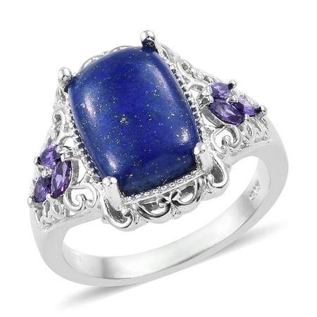 Statement Ring Lapis Lazuli Cubic Zircon Purple Gift Jewelry for Women