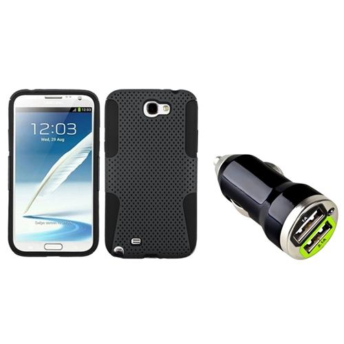 Insten Black/Grey Hybrid Case+Dual USB Car Charger Adapter For Samsung Galaxy Note 2 II