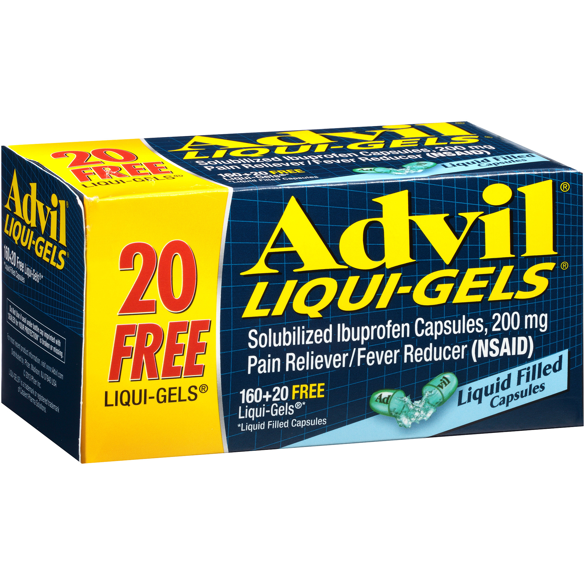 Advil Liqui-Gels (180 Count) Pain Reliever / Fever Reducer Liquid Filled Capsule, 200mg Ibuprofen, Temporary Pain Relief