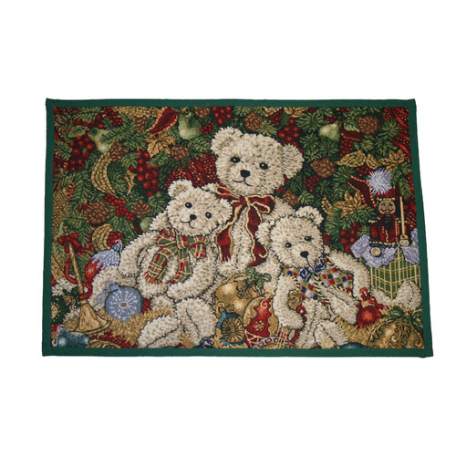 Violet Linen Seasonal Bear Design Novelty Rug