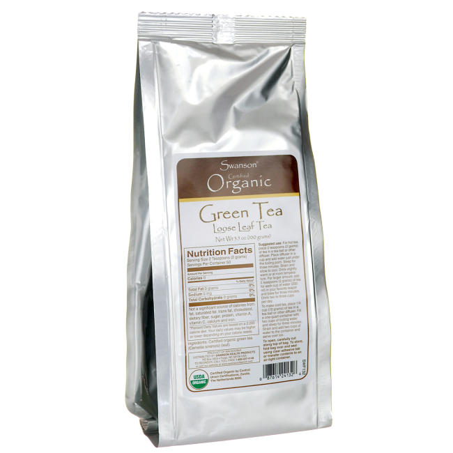 Swanson Certified Organic Loose Leaf Green Tea 3.5 oz (100 g) Pkg