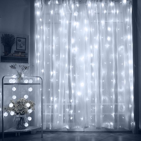 TORCHSTAR 9.8ft x 9.8ft LED Curtain Lights, Starry Christmas String Light, Indoor Decoration for Festival Wedding Party Living Room Bedroom, Daylight for $<!---->