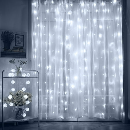 TORCHSTAR 9.8ft x 9.8ft LED Curtain Lights, Starry Christmas String Light, Indoor Decoration for Festival Wedding Party Living Room Bedroom, Daylight - Light Clappers