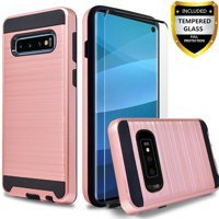 Samsung Galaxy S10e Case, 2-Piece Style Hybrid Shockproof Hard Case Cover with [Tempered Glass Screen Protector] Hybird Shockproof And Circlemalls Stylus Pen-Rose Gold