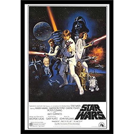 Framed Star Wars A New Hope 36X24 Movie Art Print Poster Group Cast With Credits