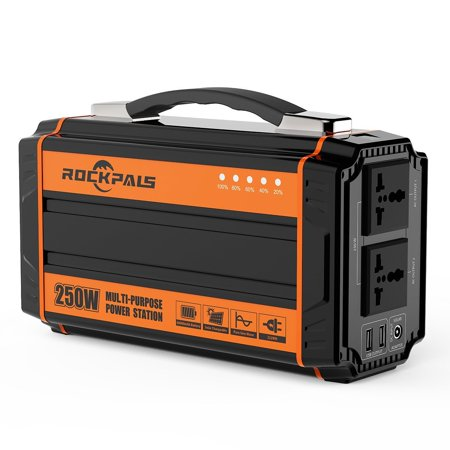 Rockpals 250Watt Portable Generator Pure Sine Wave Inverter With Dual  AC,2*USB,4*DC For Emergency Power Backup