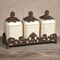 Gg Collection 3 Piece Ceramic Canister Set With Metal Base Cream