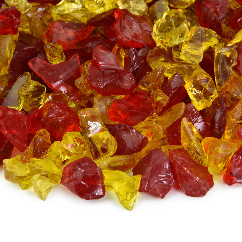 "Autumn Blaze Crushed Fire Pit Glass Blend   3/8""-3/4"", 10 lbs"