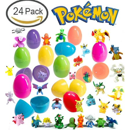 24 Plastic Easter Eggs With Pokemon Figures - Pikachu and Friends - Find Your Favorite Pokemon - Assorted Colors and Characters - High-Quality Toys and Durable 2 Inch Eggs - Ready To Fill and Hunt