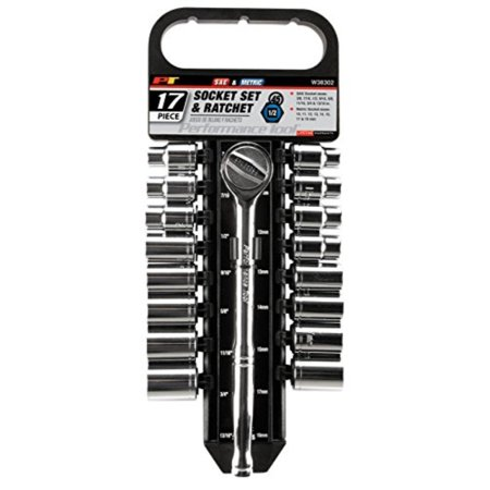 "performance tool w38302 17 piece 1/2"" drive sae and metric 6 point socket set with ratchet"