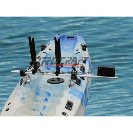 Kayak Trolling Motor Mount - BroCraft Kayak Trolling Motor Mount For Track + Two Rocket Launcher rod holder