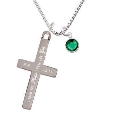 Crystal Green Channel Drop - Plans I Have for You - Cross Necklace