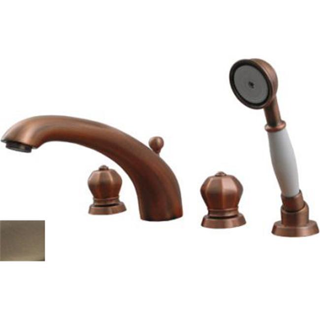 Whitehaus Collection  614. 423TF-BN 8. 50 inch Blairhaus Washington deck mount tub filler set- Brushed Nickel