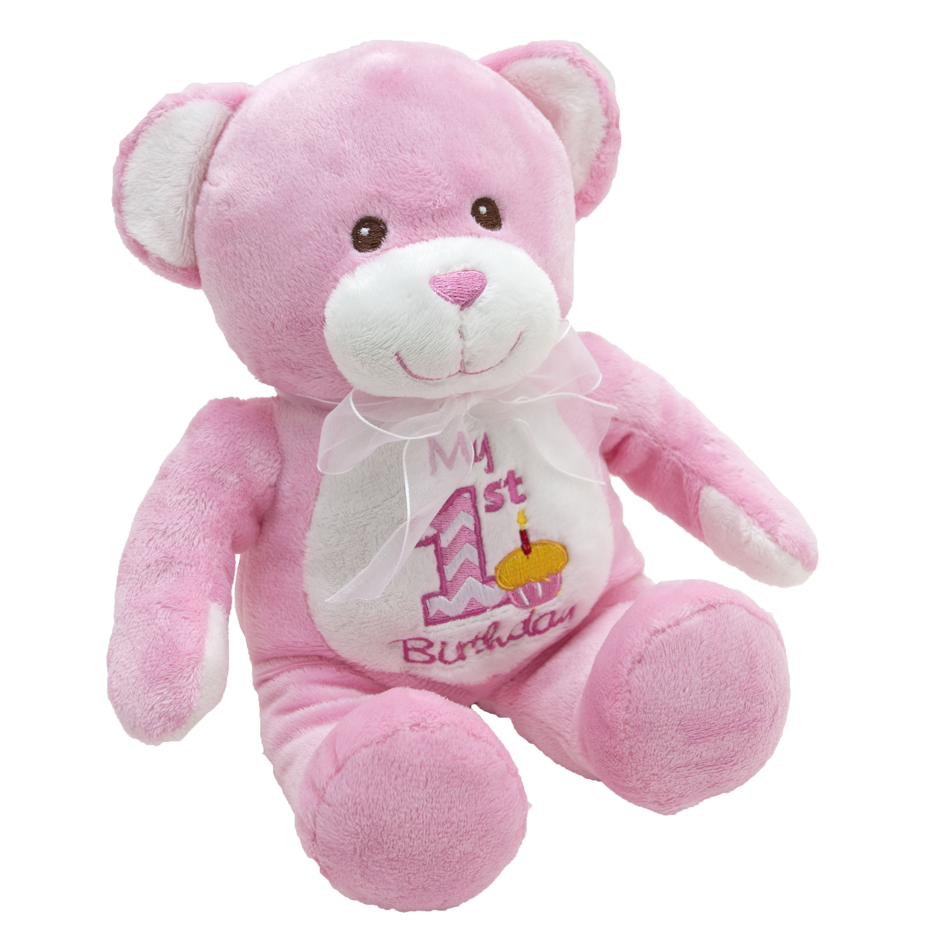 12-inch My First Birthday Plush Toy -   Pink Bear
