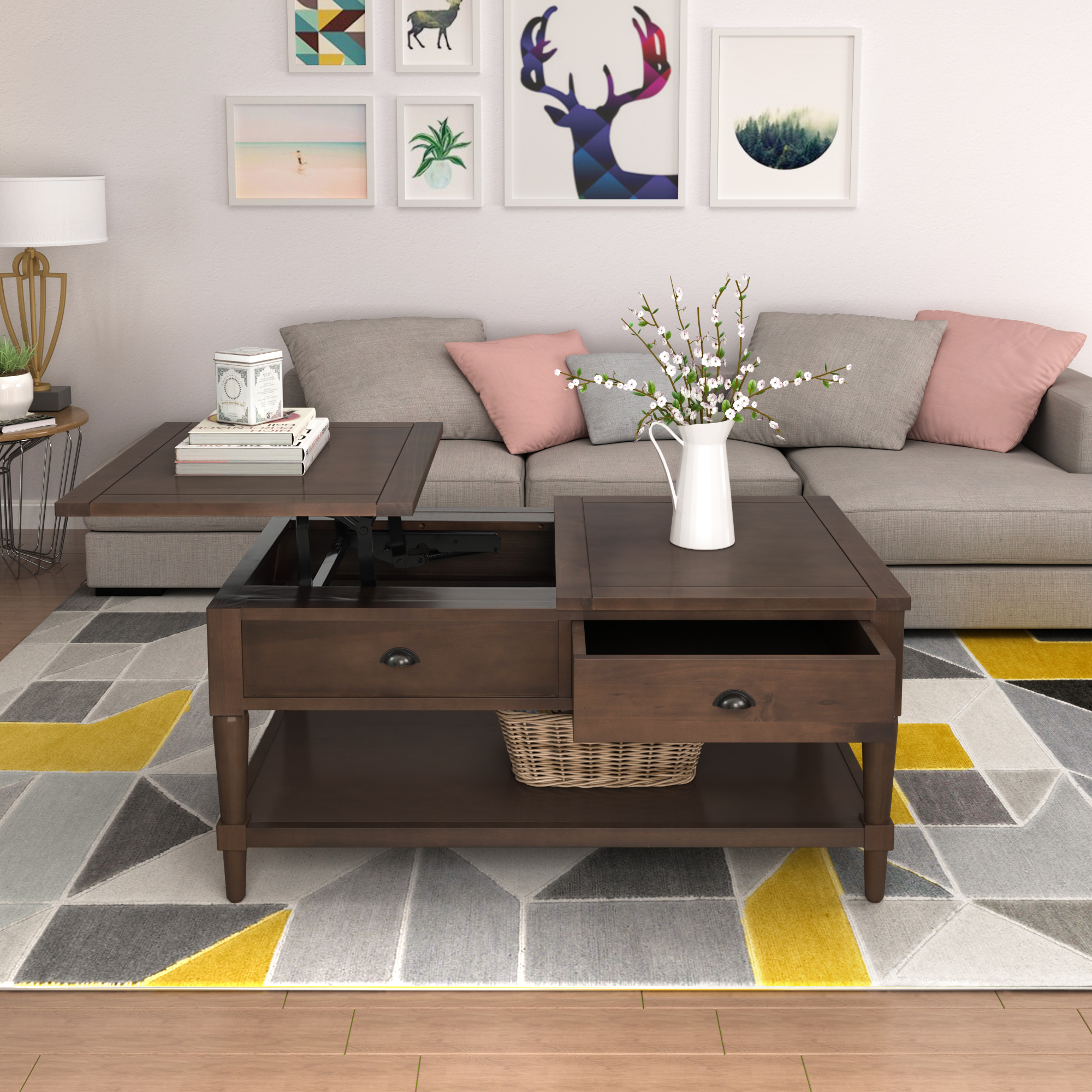 Enyopro Lift Top Coffee Table 2 Tier Cocktail Table With Storage And Shelf Wood Coffee Desk Modern Lift Tabletop For Living Room Reception Room Office Max Capacity 160lbs Easy Assembly B1159 Walmart Com