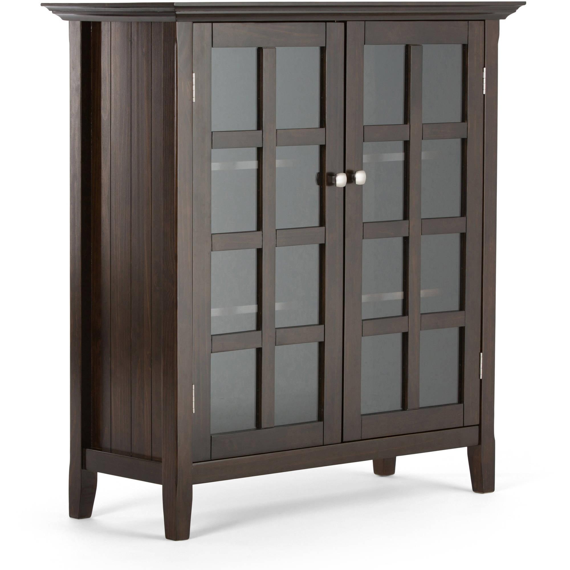 Ann mirror insert double door single drawer wooden corner cabinet - Simpli Home Acadian Medium Storage Cabinet