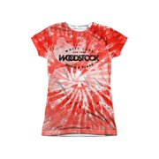 Woodstock - Tie Dye (Front/Back Print) - Juniors Cap Sleeve Shirt - Large