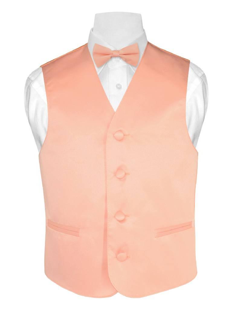BOY'S Dress Vest & BOW Tie Solid PEACH Color BowTie Set