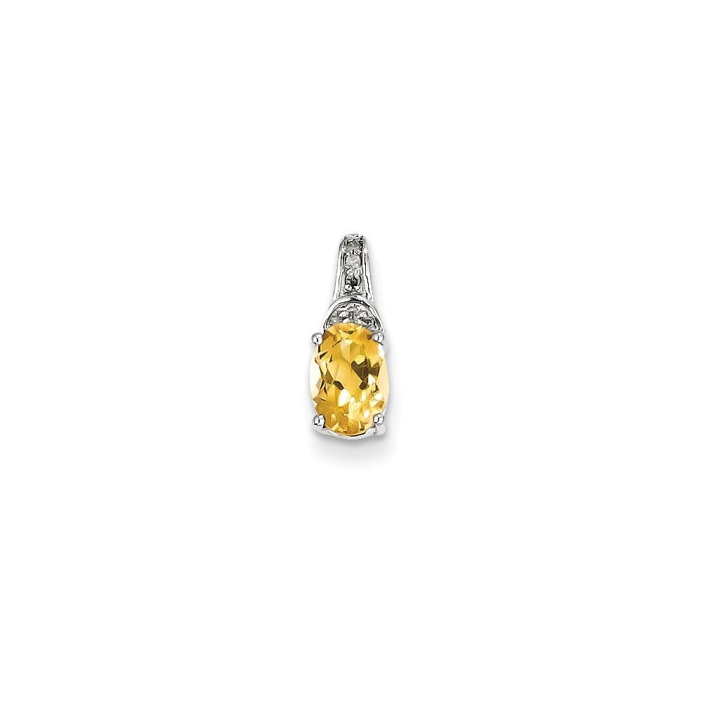 Sterling Silver Diamond & Citrine Oval Pendant Carat Wt- 0.02ct. Gem Wt- 0.67ct