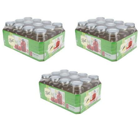 Ball Regular Mouth Canning Jar 12/Pkg Quart - 3 Pack