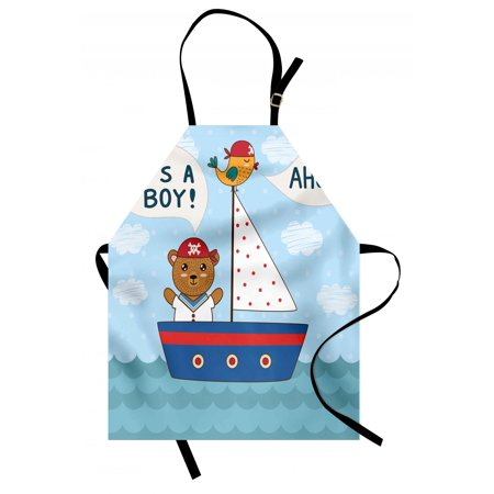 Ahoy Its a Boy Apron Cute Baby Shower Theme It's a Boy in Nautical Style Bear and Bird in Boat, Unisex Kitchen Bib Apron with Adjustable Neck for Cooking Baking Gardening, Multicolor, by Ambesonne ()