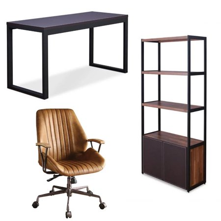 Hamilton 3 Piece Desk with Leather Swivel Office Chair and 3 Shelf Bookcase