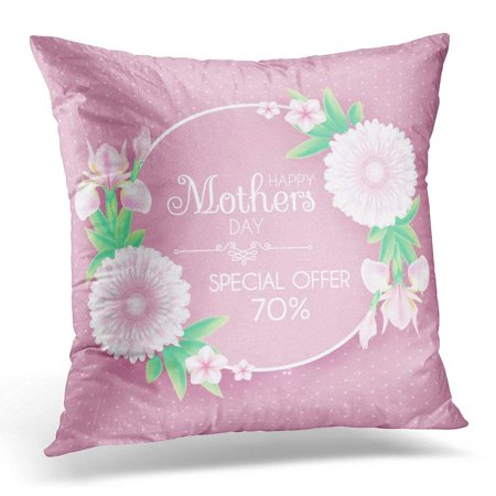 CMFUN Mothers Day Greeting Flowers Cute Design for Birthday Anniversary Wedding Baby and Bride Shower and So Pillow Case Pillow Cover 18x18 inch - Cute Mothers Day Crafts