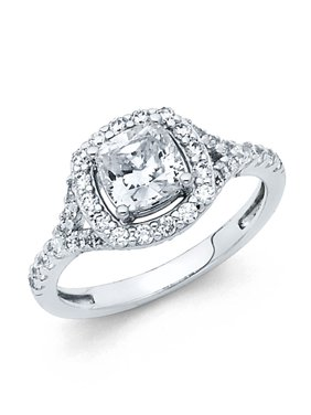 14K Solid White Gold 1.25 cttw Polished Halo Cubic Zirconia with Side Stones Engagement Wedding Ring, Size 9