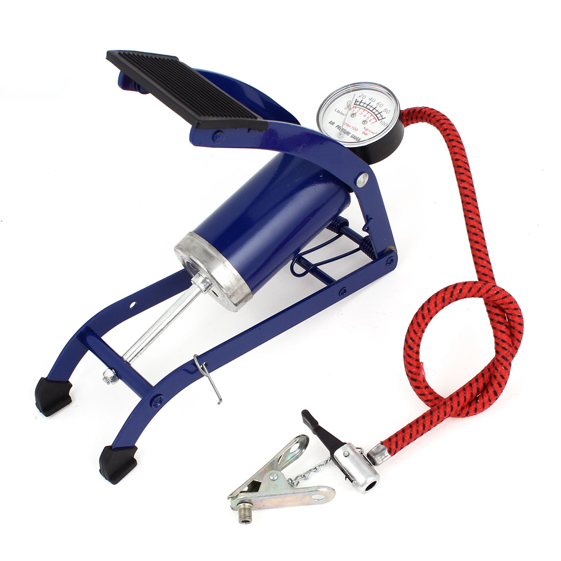 Foot Operated Inflatable Air Pump Blue For Bike Bicycle Tire Ball