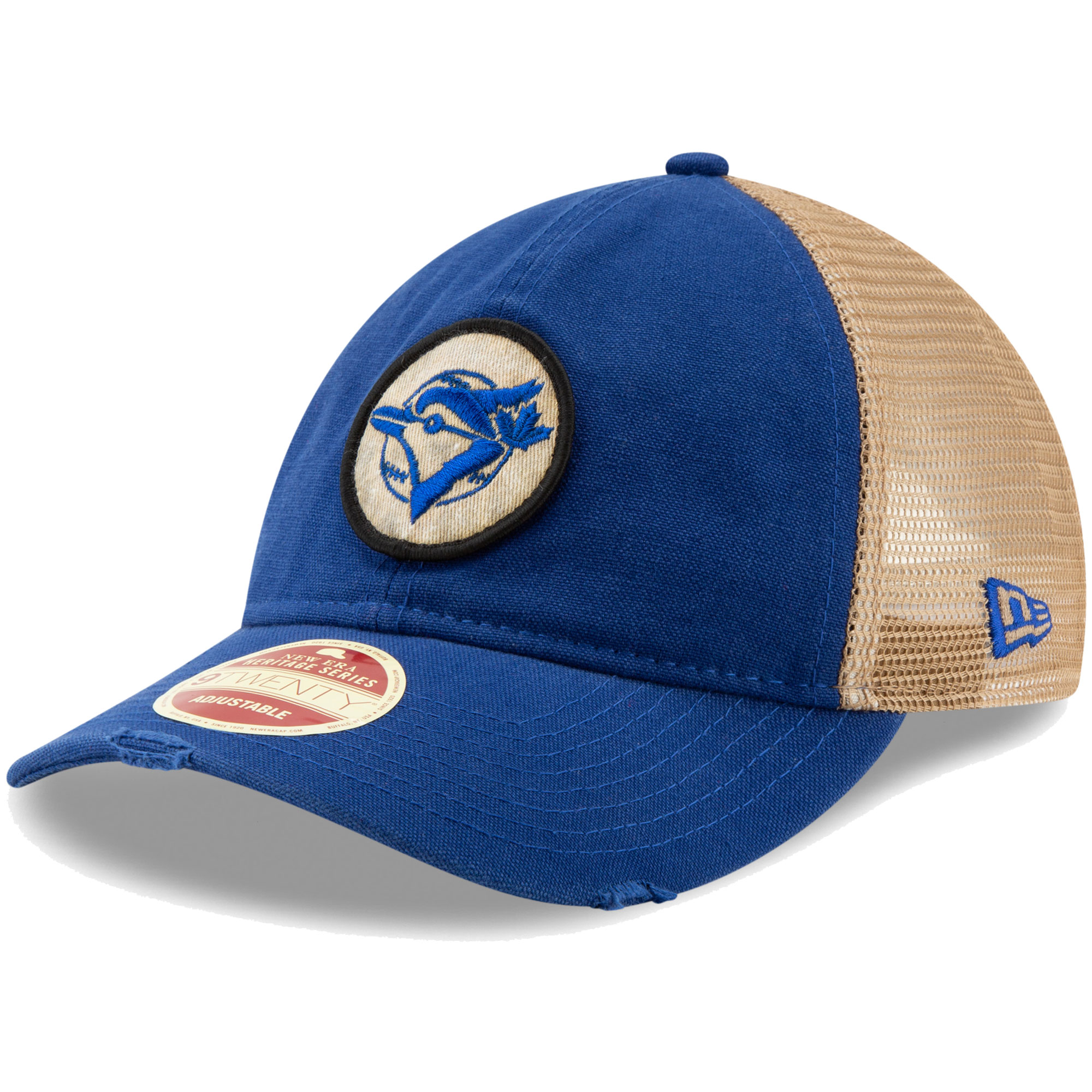 Toronto Blue Jays New Era Cooperstown Collection Front Patched Trucker 9TWENTY Adjustable Hat - Royal - OSFA
