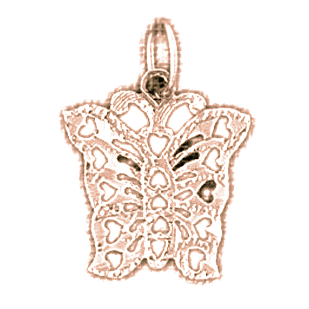 14K Rose Gold Butterflies Pendant - 18 mm