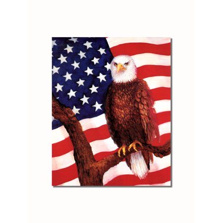 American Bald Eagle Pictures (Bald Eagle with American Flag Wall Picture 8x10 Art Print )