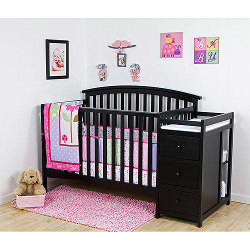 Dream On Me Niko 5 in 1 Convertible Crib with Changer, BLACK