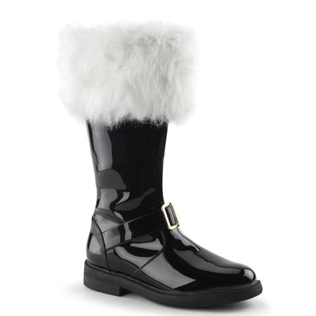 Mens Shiny Black Patent Santa Boots With Removable White