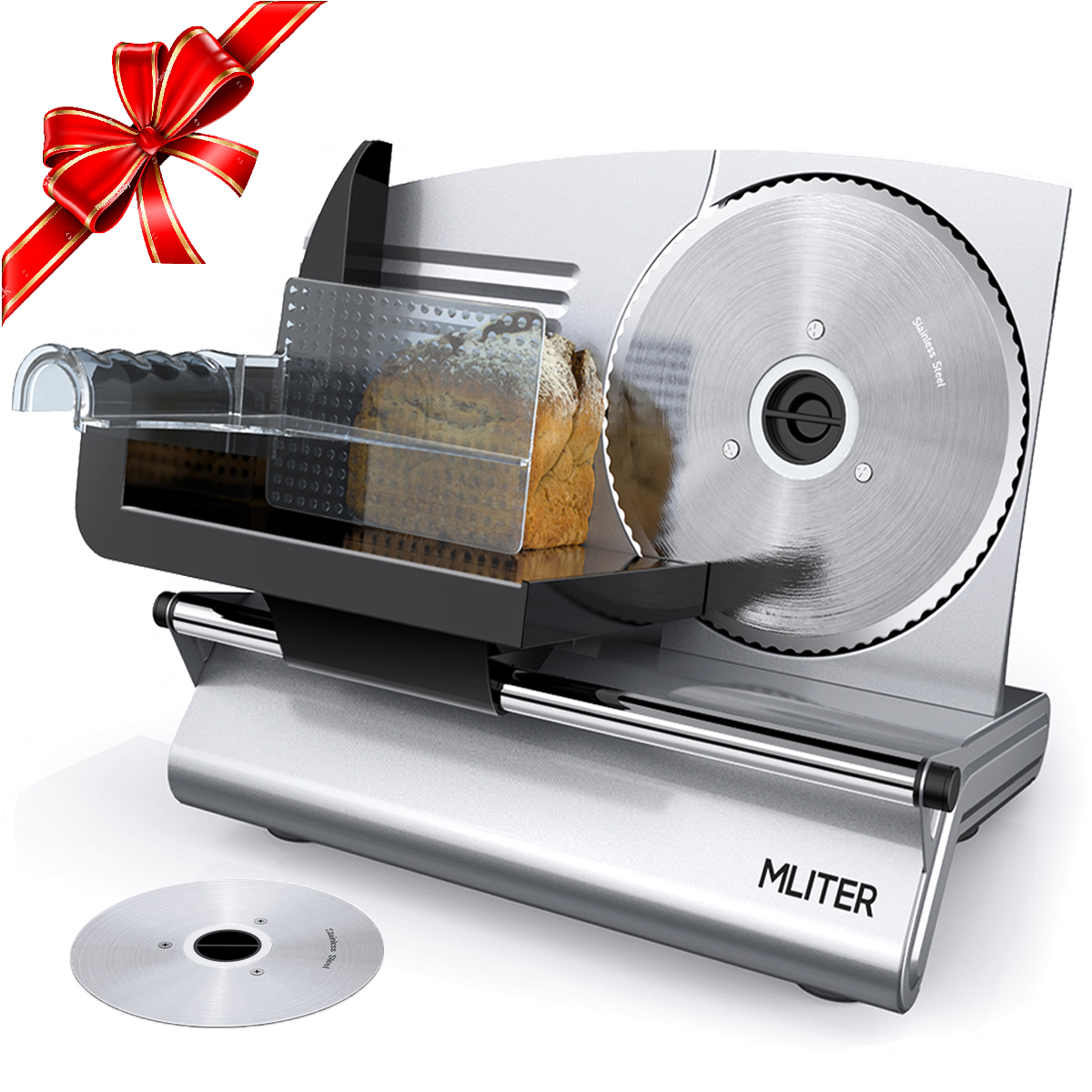 "Food Slicers and Choppers, Mliter Electric Food Slicer 150 Watt for Home Use with 7.5"" Stainless Steel Blade, Thickness Adjustable For Bread Cheese Vegetables Fruits Meats"