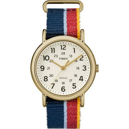Weekender Watch, Multicolor Striped Denim Slip-Thru - Multi Strap Watch