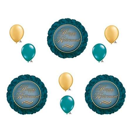 RETIREMENT Elegant Gold and Teal Balloons Decoration Supplies 9 pieces Retiring by Anagram (Retirement Balloons)