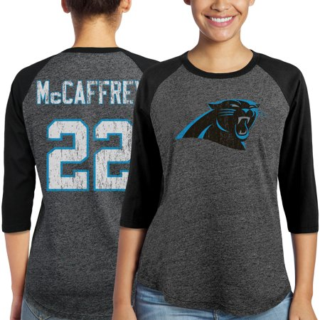 Christian McCaffrey Carolina Panthers Majestic Women's Player Name & Number Tri-Blend 3/4-Sleeve Raglan T-Shirt -