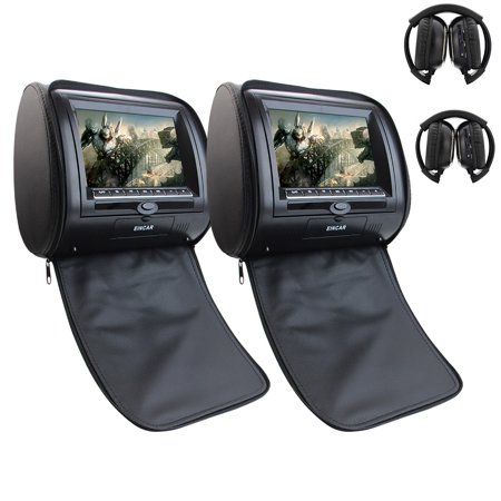 2pcs Free Wireless IR Headphones included Pair of Car Pillow Headrests Dual