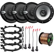 """4 x DR Series 6.5"""" 2-Way Coaxial 300W Max Power 4 Ohm Car Audio Speakers with 4 x Enrock Mounting Ring Adaptors, 4 x Speaker Harness, Speaker Wire (Bundle Fits Select GM Vehicles)"""