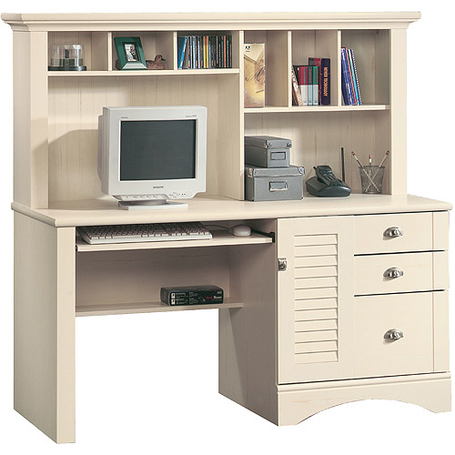 Sauder Harbor View Computer Desk with Hutch, Antiqued White, Box 2 of 2