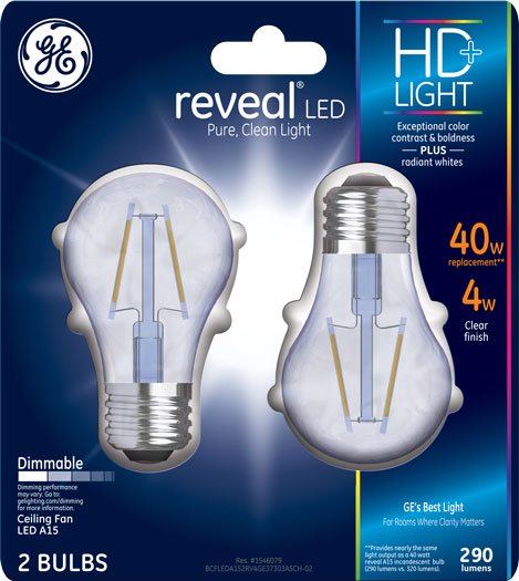 GE LED HD Reveal 40W Equivalent A15 Ceiling Fan 2 Pack