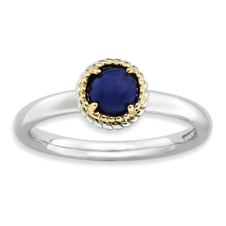 Sterling Silver & 14k Stackable Expressions Lapis Polished Ring Size 9 - image 1 of 3